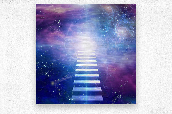 Steps up into cosmos  Metal print