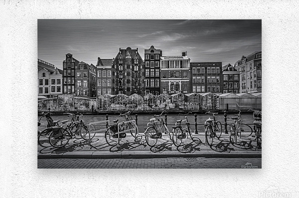 AMSTERDAM Singel Canal with Flower Market | monochrome  Metal print