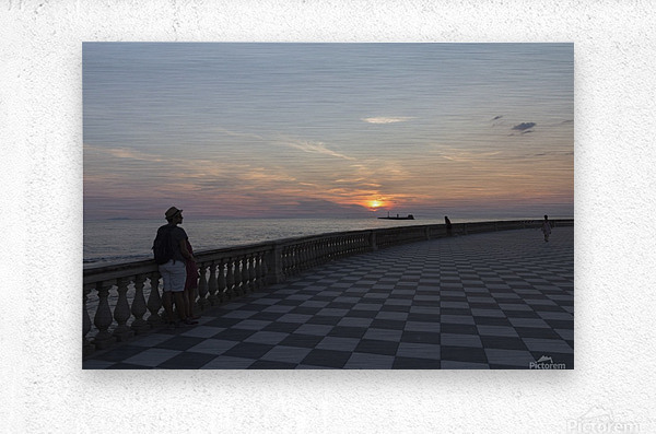 Sunset in Livorno - Piazza Mascagni  Metal print