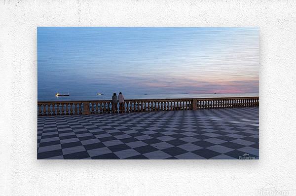 Sunset in Livorno - Piazza Mascagni  Metal print