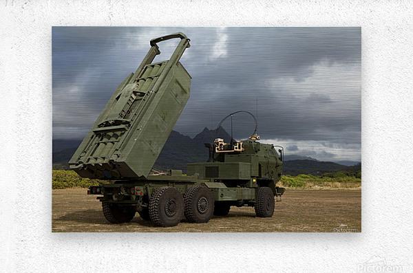 A M142 High Mobility Artillery Rocket System.  Metal print
