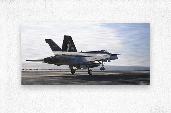 An F-A-18E Super Hornet touches the flight deck of USS Nimitz.  Metal print