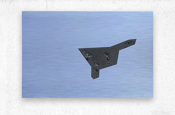 An X-47B unmanned combat air system in flight.  Metal print