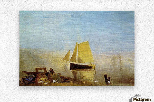 Fishing boat in a mist by Joseph Mallord Turner  Metal print
