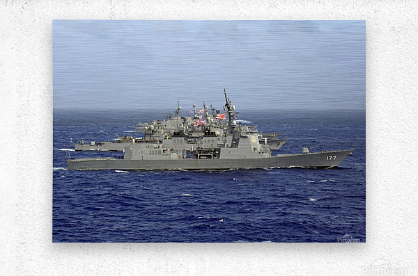JDS Atago sails in formation with U.S. Navy and Japan Maritime Self Defense Force ships.  Metal print