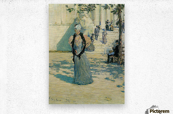 Characters in the sunlight by Hassam  Metal print