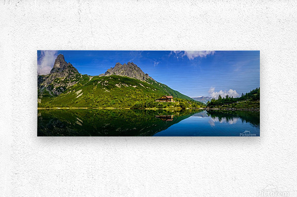 Mountain cottage at the Zelene pleso  Metal print