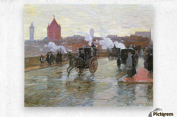 Clearing Sunset (Berkeley Street and Columbus Avenue) by Hassam  Metal print
