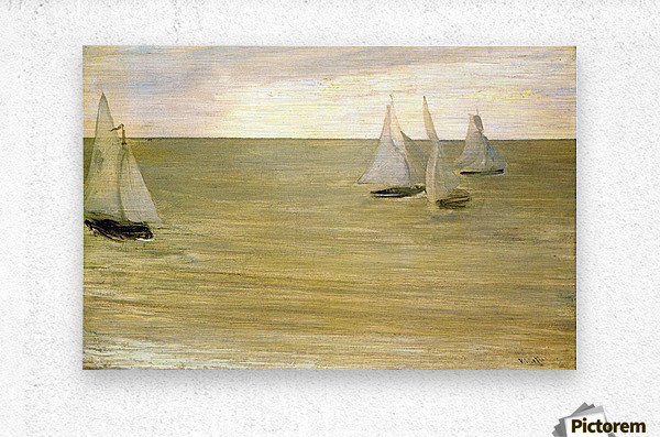 Grey and green the silver sea by Whistler  Metal print