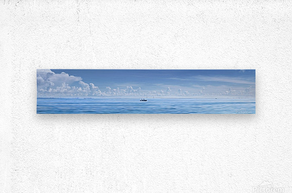 Fishing boat in front of Sunshine Skyway  Metal print