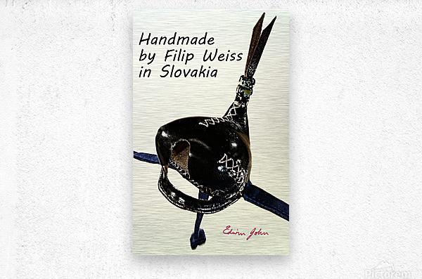 Black Leather Falcon hood Handmade in Slovakia by Filip  Metal print