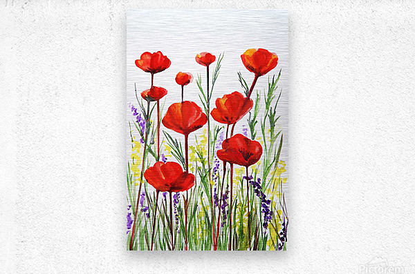 Red Poppies And Lavender Field Watercolor  Metal print