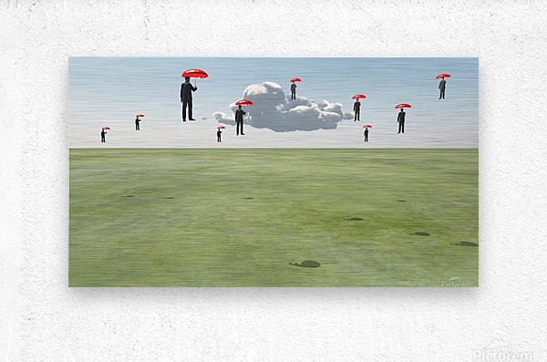 Surreal Floating Men  Metal print
