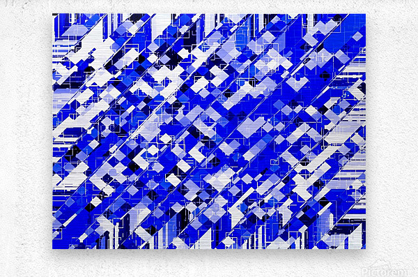 geometric square pixel pattern abstract background in blue  Metal print