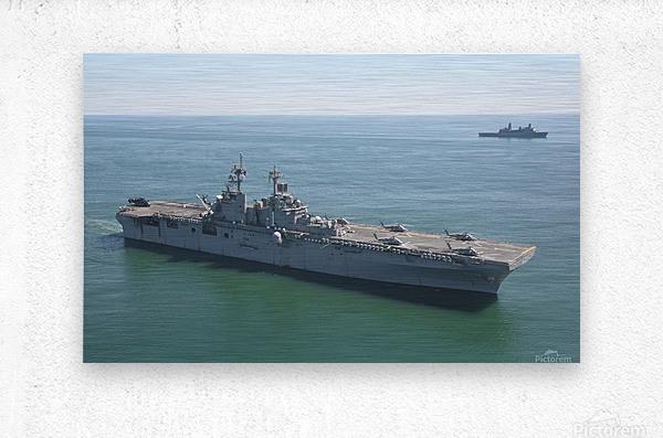 USS Wasp and USS San Antonio transit in formation in the Atlantic Ocean.  Metal print