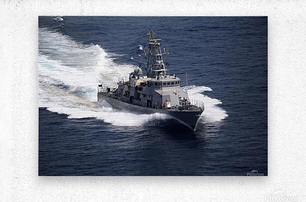 The cyclone-class coastal patrol ship USS Firebolt transits the Arabian Gulf.  Metal print