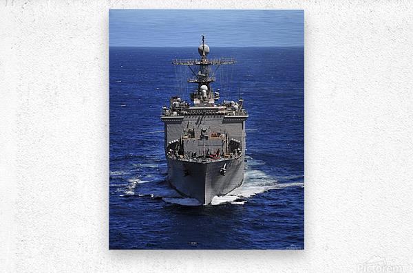 USS Comstock transits the Indian Ocean.  Metal print