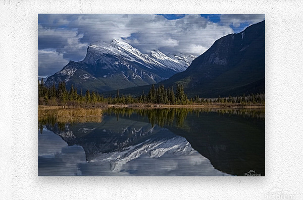 Mt. Rundle mirrors  Metal print