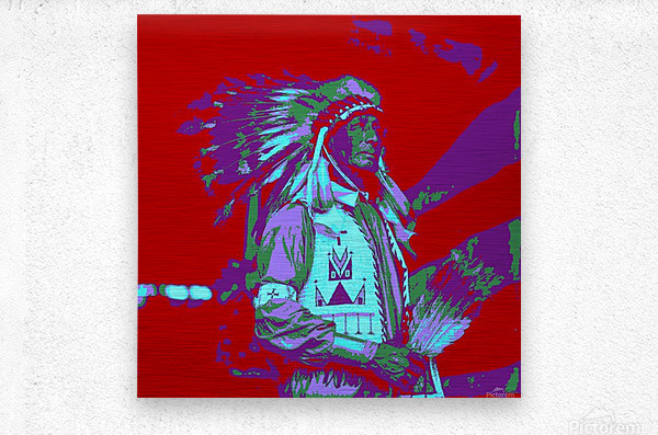 Indian Chief Pop Art  Metal print
