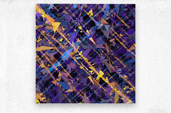 splash geometric triangle pattern abstract background in blue purple yellow  Metal print