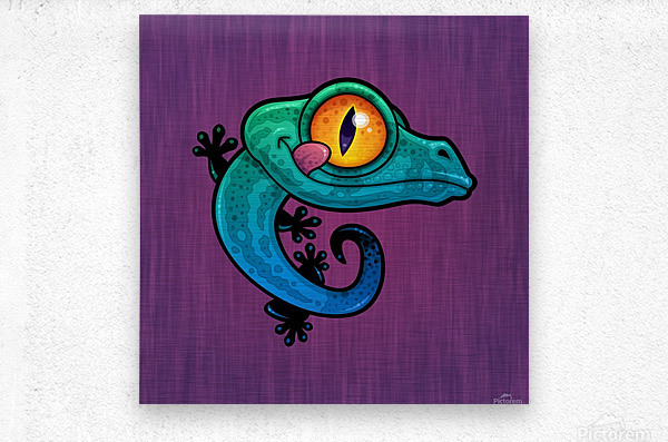 Cute Colorful Cartoon Gecko  Metal print