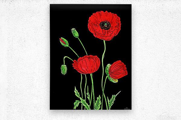 Red Poppy Flowers Watercolor  Metal print
