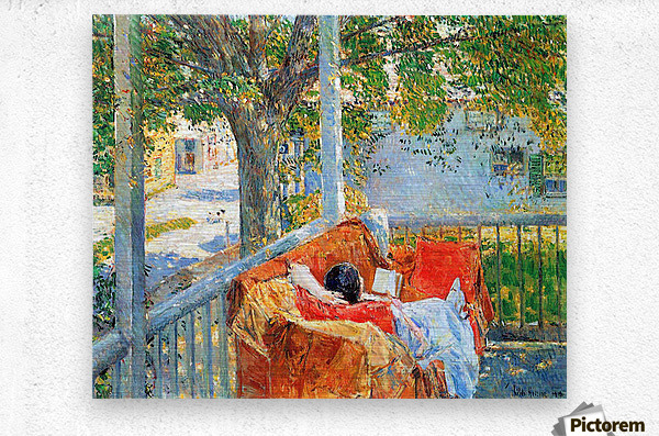 Couch and Veranda at Cos Cob by Hassam  Metal print