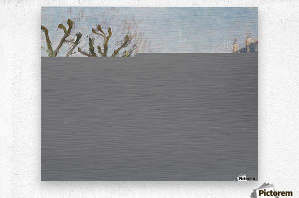 Quay of the River Long, Village, Sun  Metal print