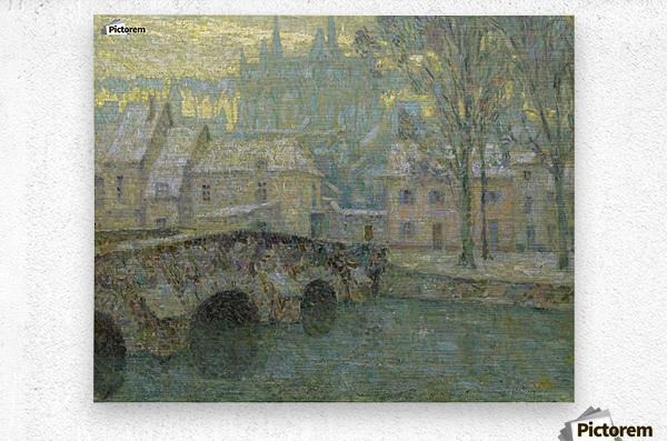 Chartres in Snow  Metal print