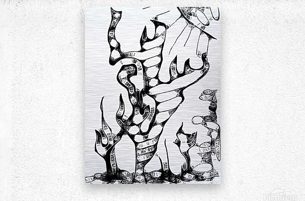 Cactus Sunrise Cartoon Sketch  Metal print