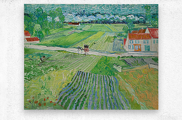 Landscape at Auvers in the Rain -2 by Van Gogh  Metal print