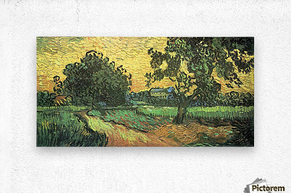 Landscape with Castle Auvers at Sunset by Van Gogh  Metal print
