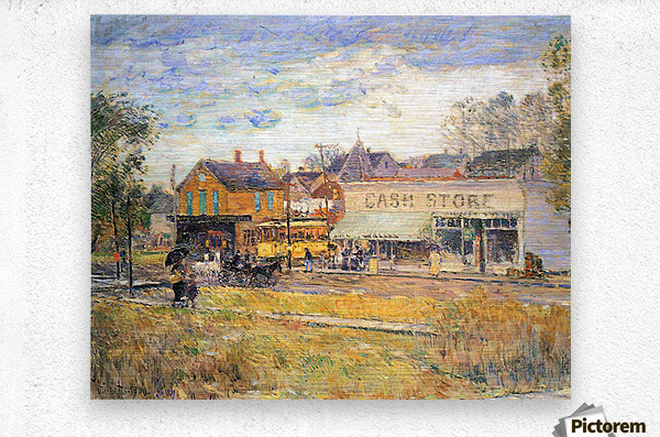 End of the tram, Oak Park, Illinois by Hassam  Metal print