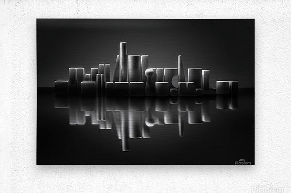 Blockville on the lake  Metal print