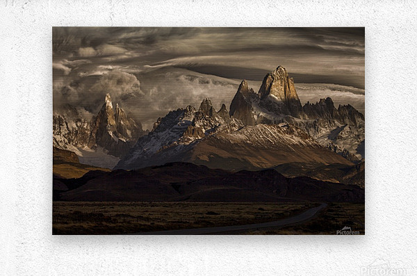 Striped sky over the Patagonia spikes  Metal print