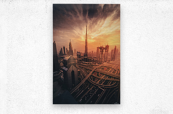Dubai's Fiery sunset  Metal print