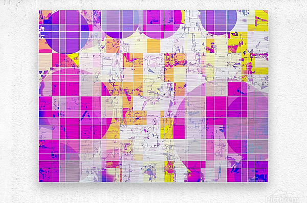 geometric square and circle pattern abstract in pink purple yellow  Metal print