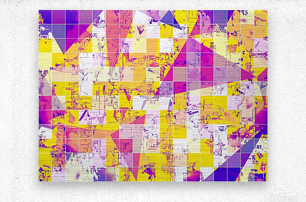 geometric square and triangle pattern abstract in pink yellow blue  Metal print