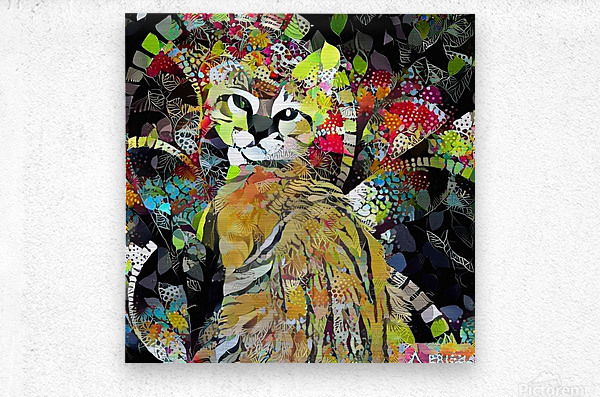 Kitten in Colorful Leaves  Metal print