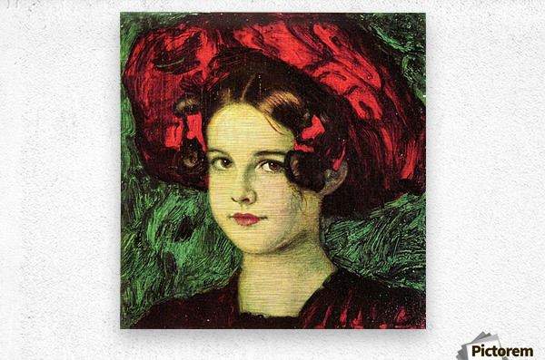 Mary with red hat by Franz von Stuck  Metal print