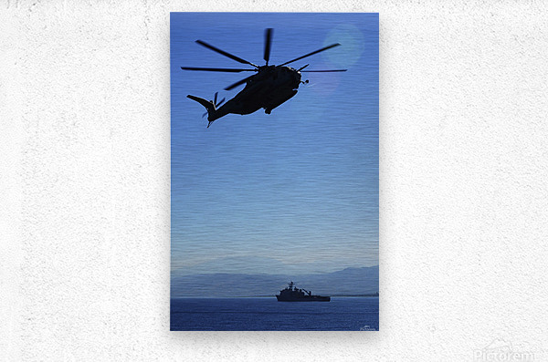 A CH-53E Super Stallion helicopter.  Metal print