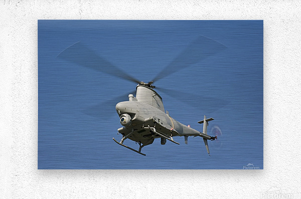 An MQ-8B Fire Scout unmanned aerial vehicle in flight.  Metal print