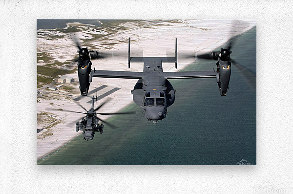 A CV-22 Osprey and an MH-53 Pave Low fly over the coastline of Florida.  Metal print