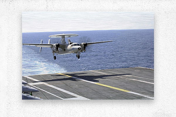 An E-2C Hawkeye makes its approach to the flight deck of USS Dwight D. Eisenhower.  Metal print