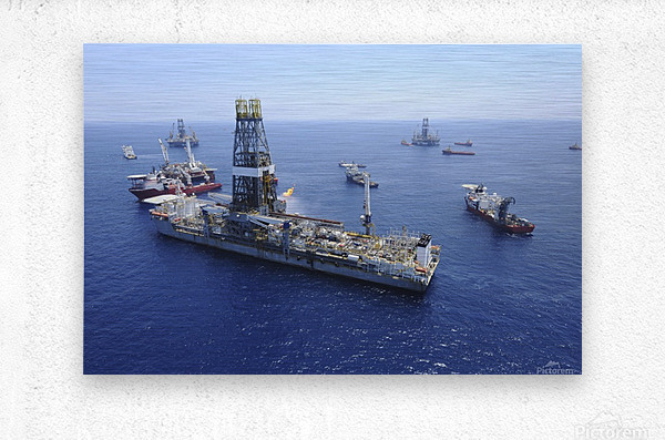 Flaring operations conducted by the drillship Discoverer Enterprise.  Metal print
