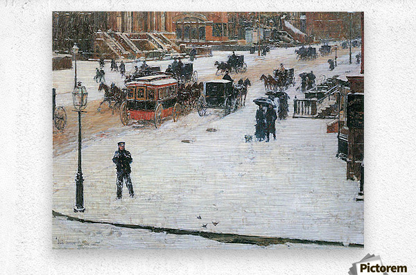 Fifth Avenue in Winter by Hassam  Metal print