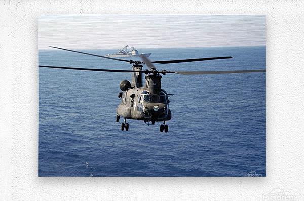 A U.S. Army MH-47 Chinook prepares to land.  Metal print