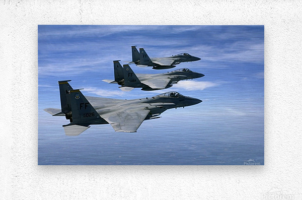 The F-15 Eagles final training mission over the the Atlantic Ocean.  Metal print
