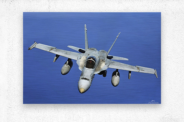 A F-A-18 Hornet participates in a mission in support of Rim of the Pacific.  Metal print