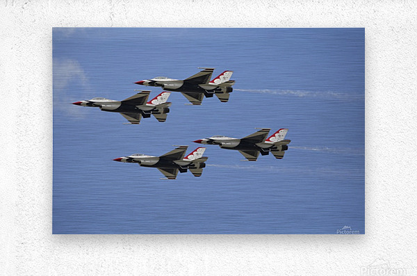 The U.S. Air Force Thunderbirds fly in formation.  Metal print